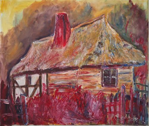 Altes Riedhaus in Hochla PolenAcrylmalerei60x50 2018