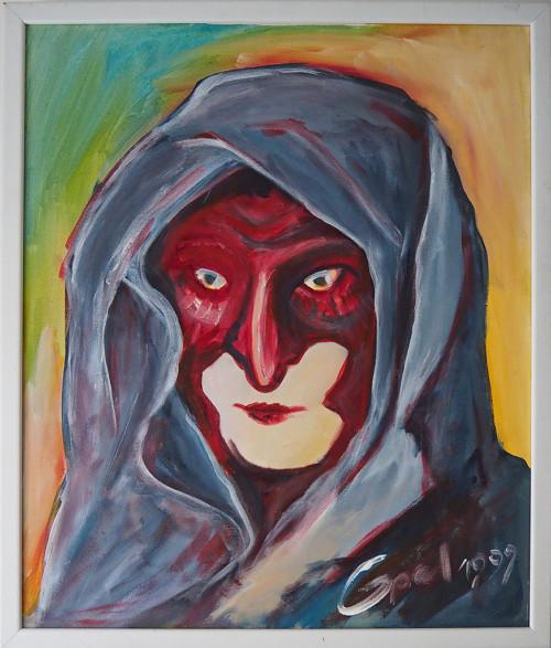 Die Maske 1Acrylmalerei53x63 mit Rahmen 1999