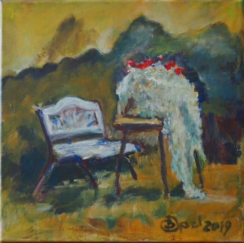 Gartenstilleben Acrylmalerei30x30 2019