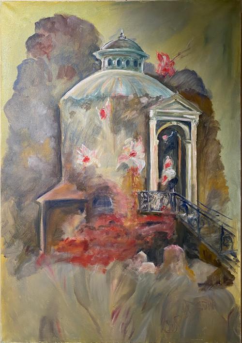 Pavillion in der Gärtnerei Lieberose Acrylmalerei70x100 2019